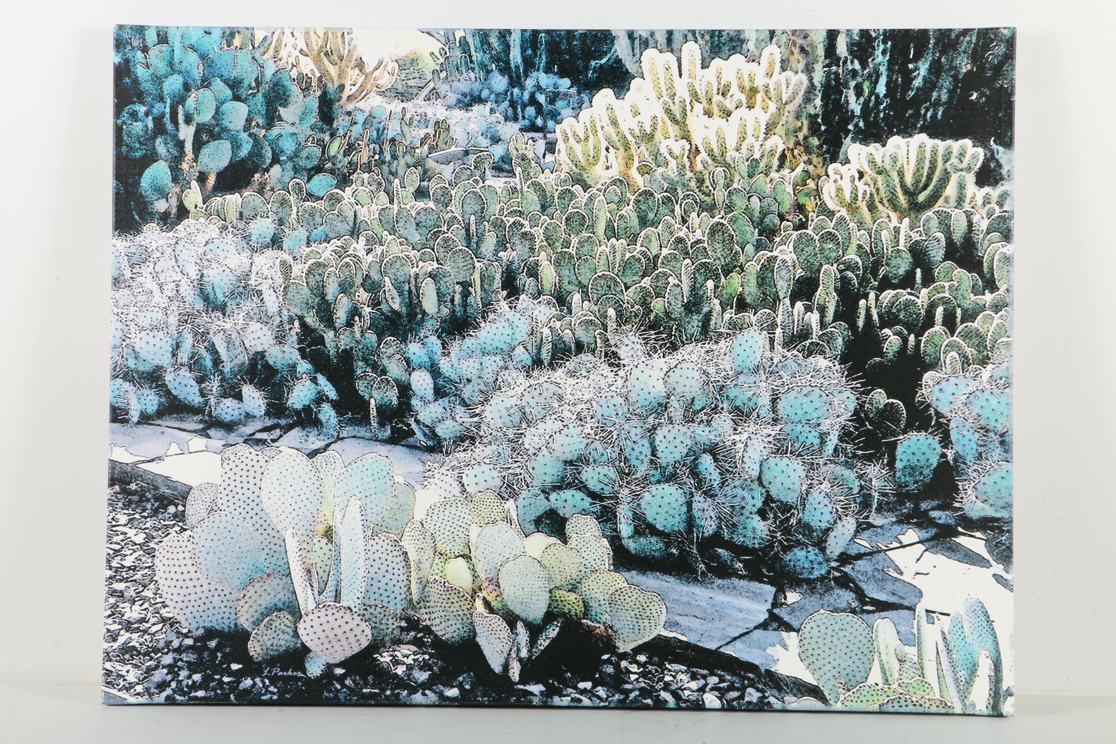 "Giclee Print on Canvas After Linda Parker ""Desert Botanical Garden"""