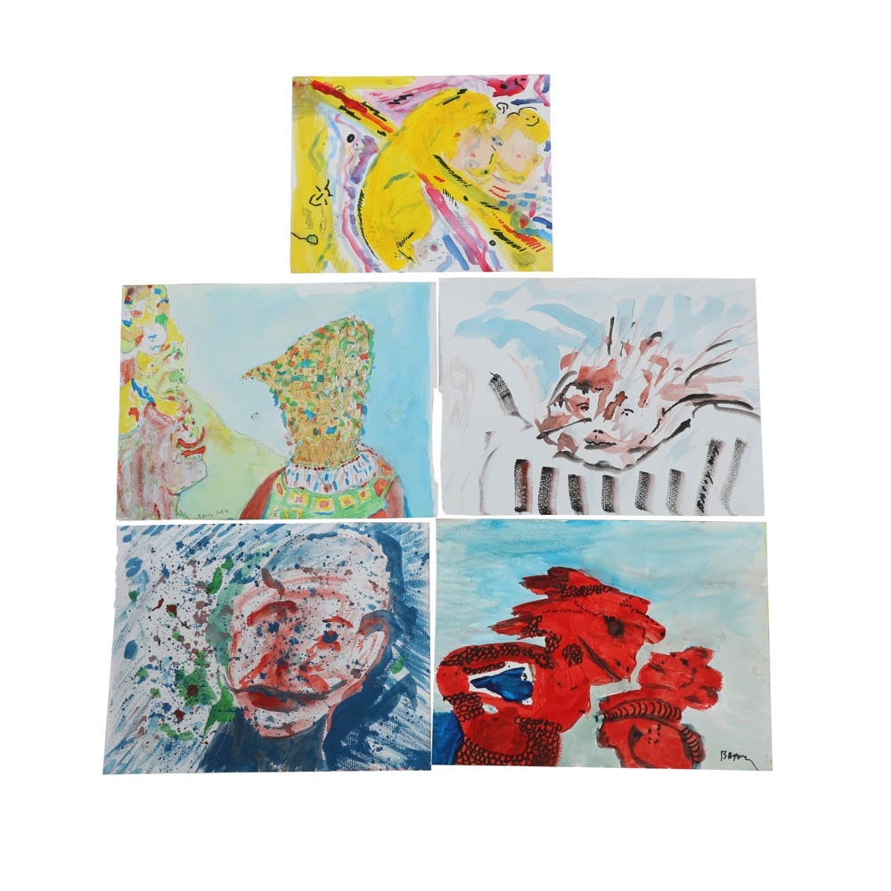 Assortment of Gouache Paintings on Paper