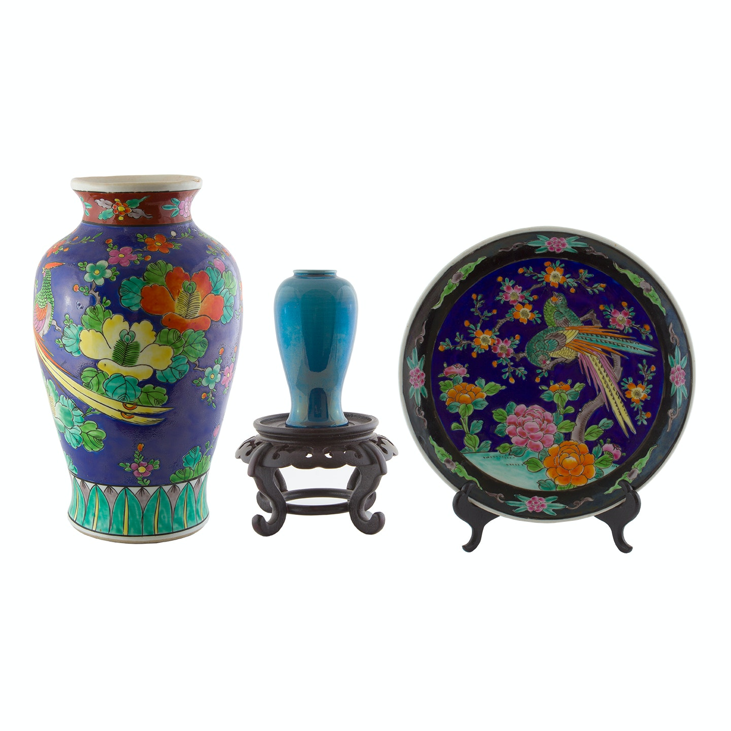 1930s Japanese Hand-Painted Vase and Display Plate