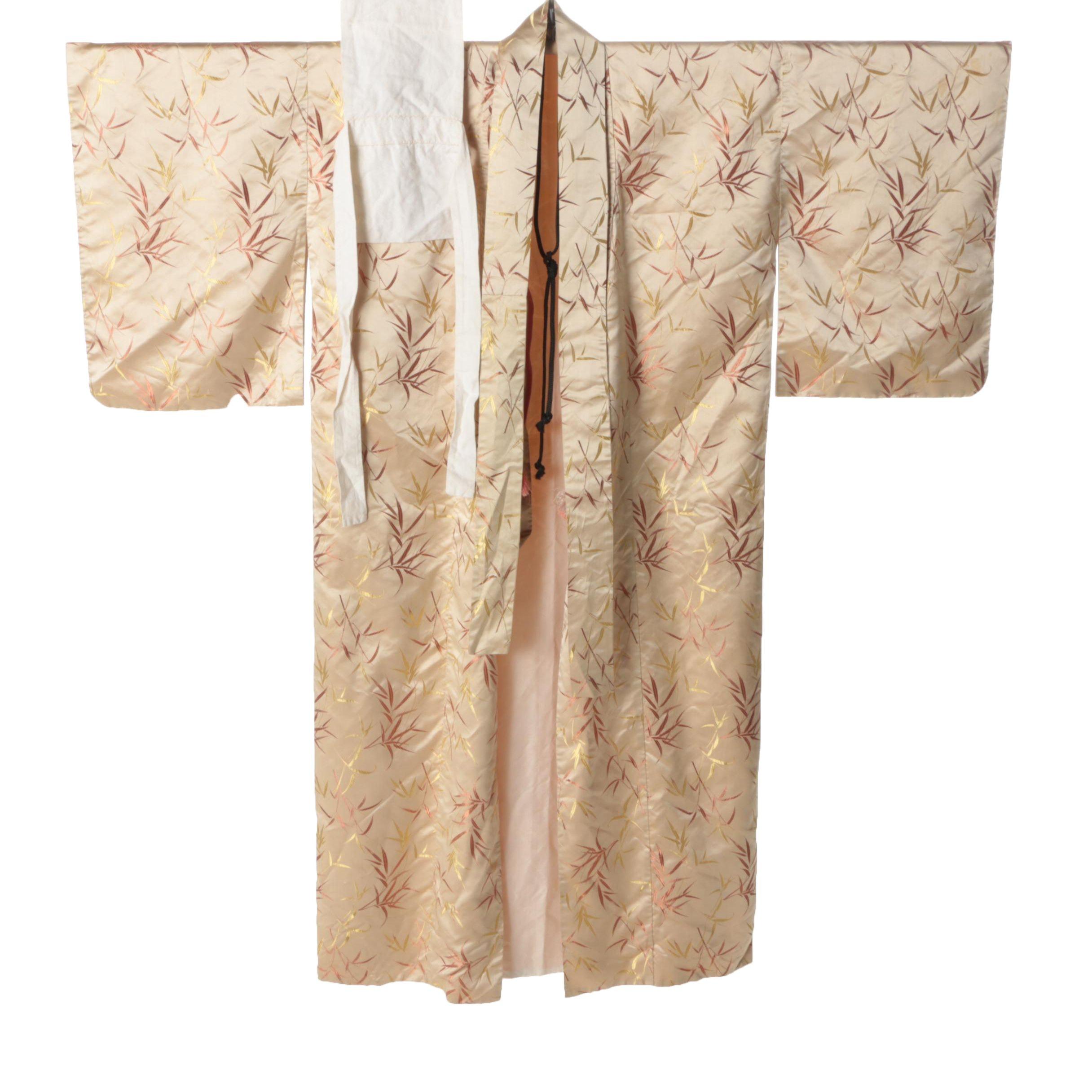Vintage Japanese Silk Kimono, Tsuke Obi and Obijime