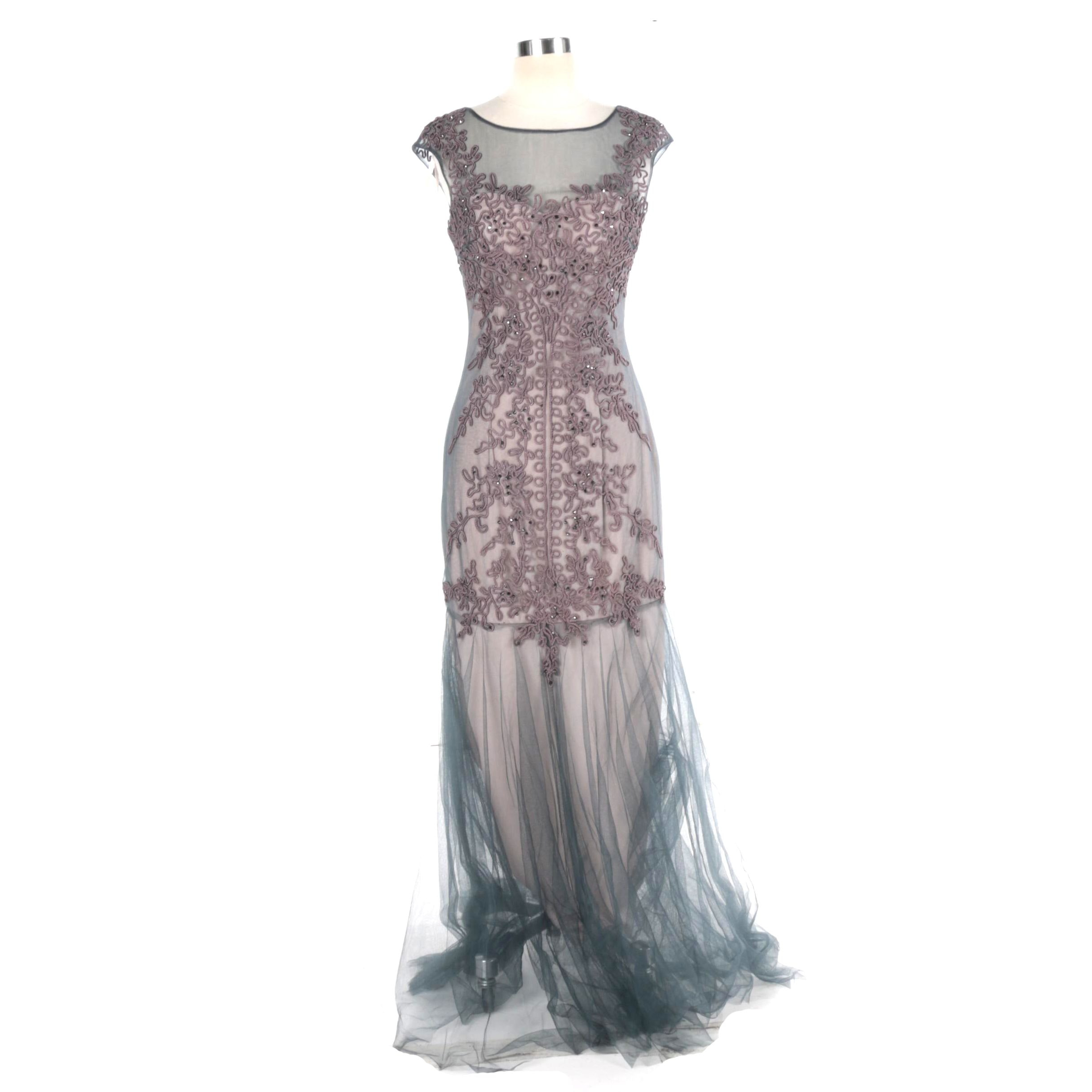 Cachet Embellished Tulle Evening Gown