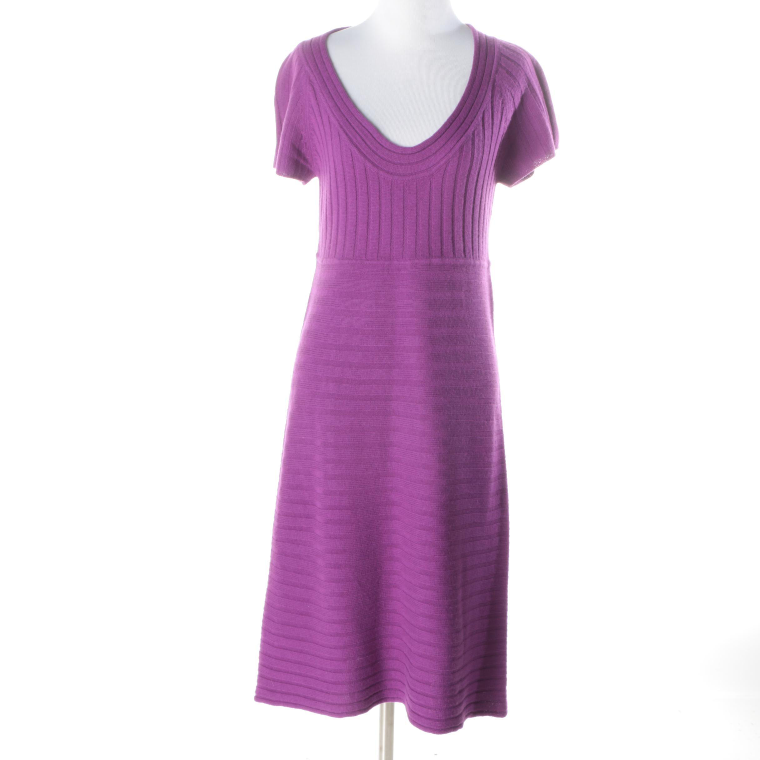 Catherine Malandrino Magenta Wool-Blend Dress