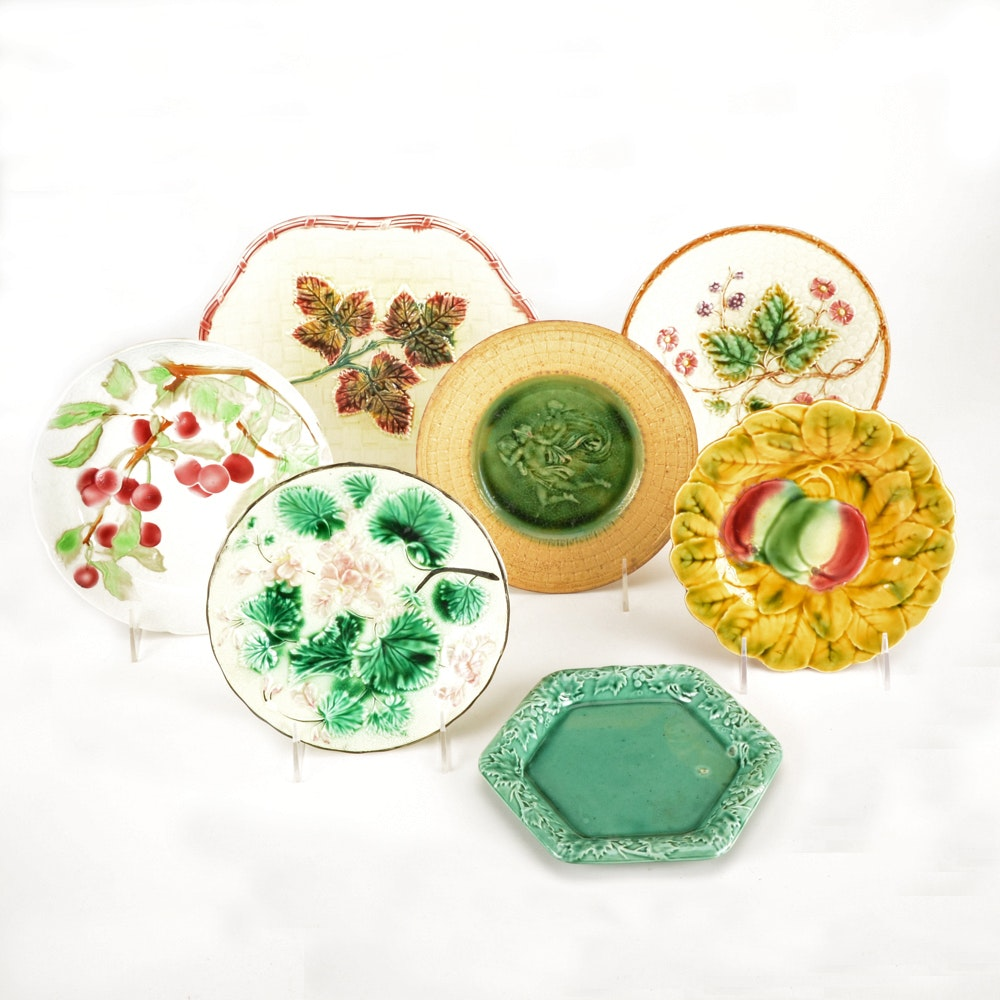 Antique Assorted Majolica Plates including Griffin, Smith & Hill