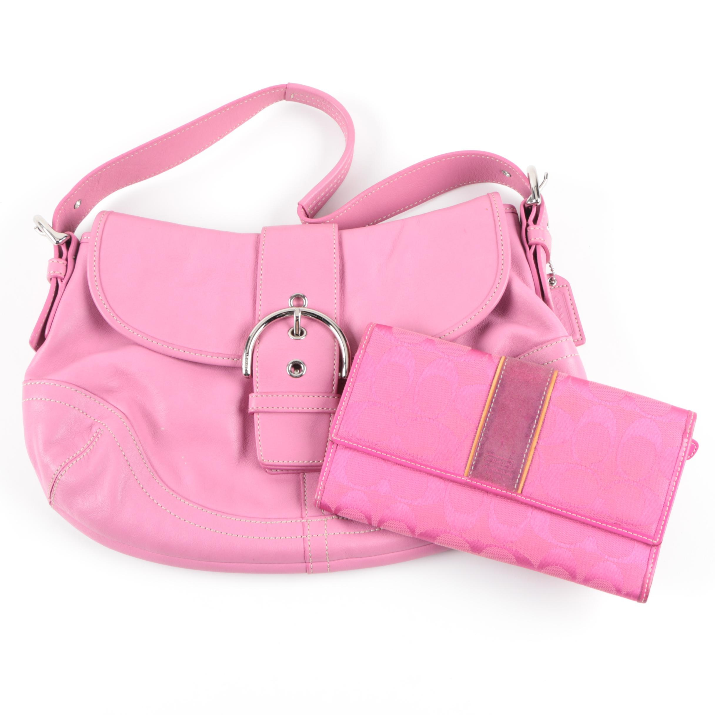 Coach Soho Hobo Orchid Leather Handbag and Wallet