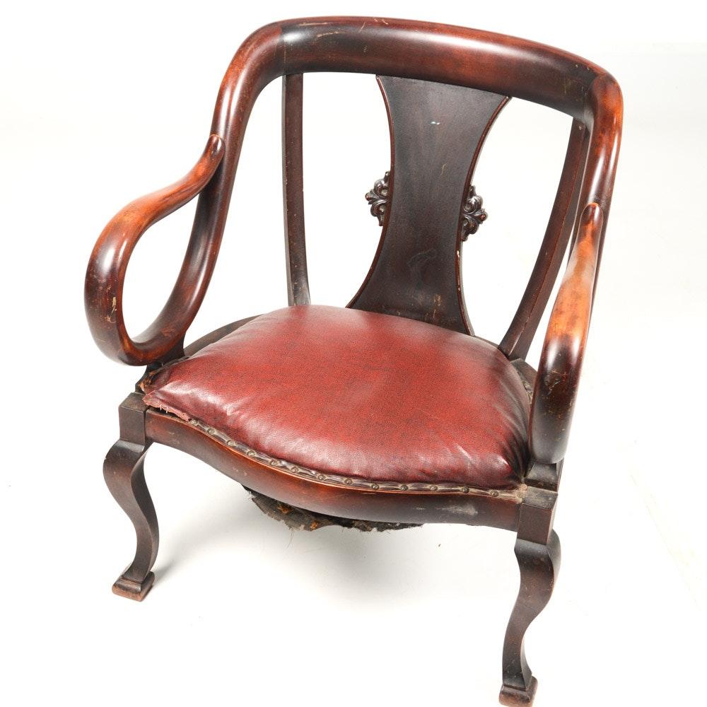 Vintage Mahogany Empire Armchair