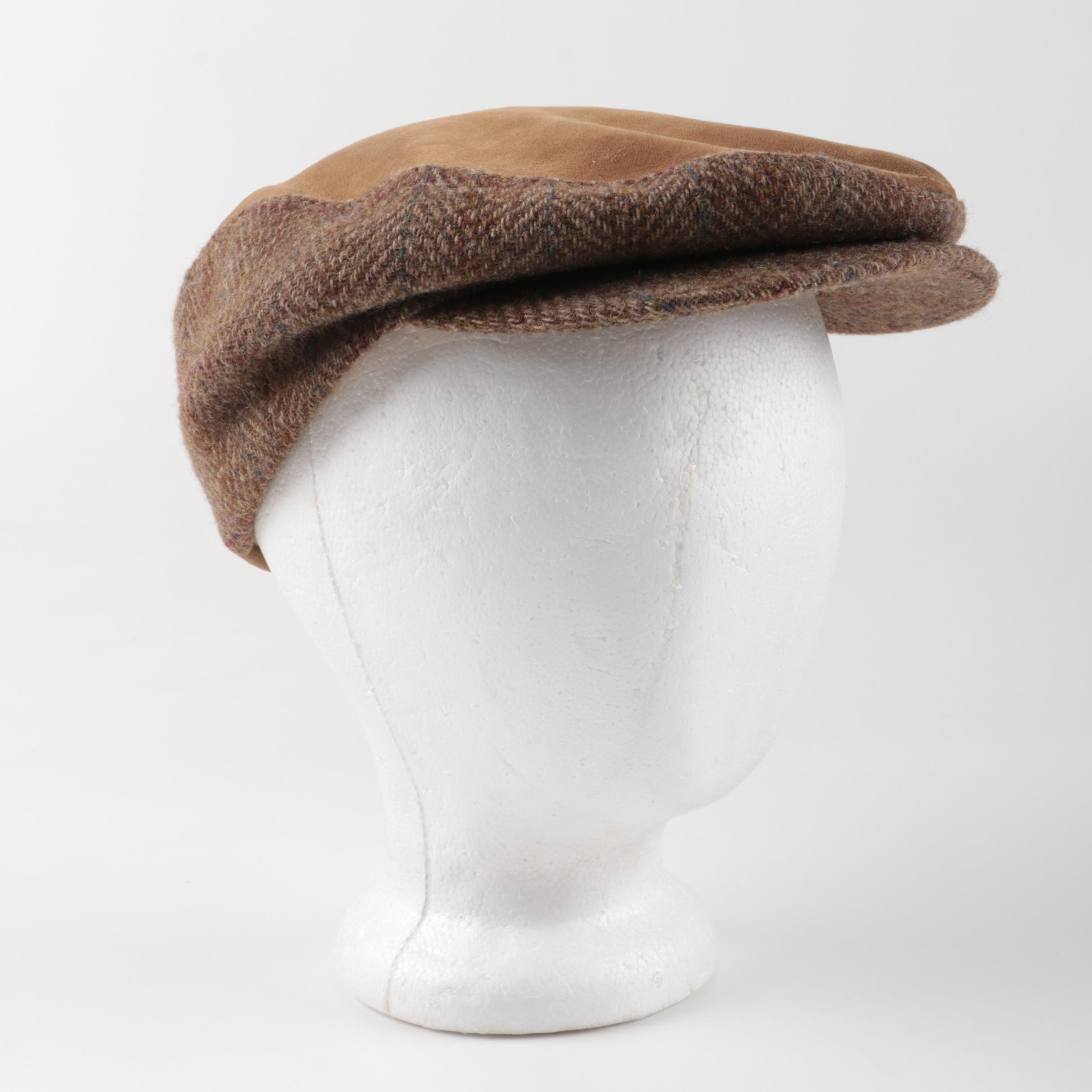Vintage Stetson Tweed and Leather Flat Cap