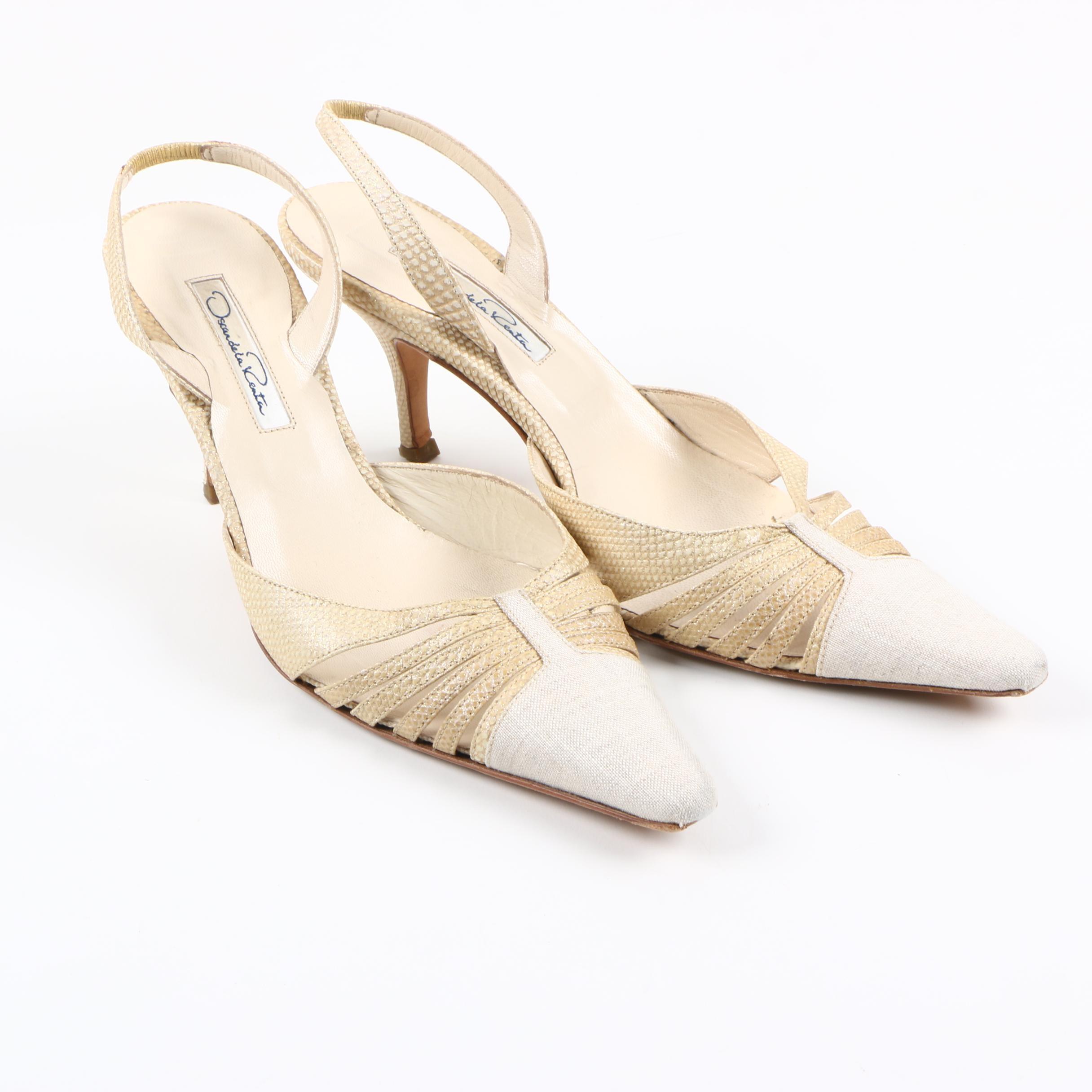 Oscar de la Renta Canvas and Leather Sling Back Heels