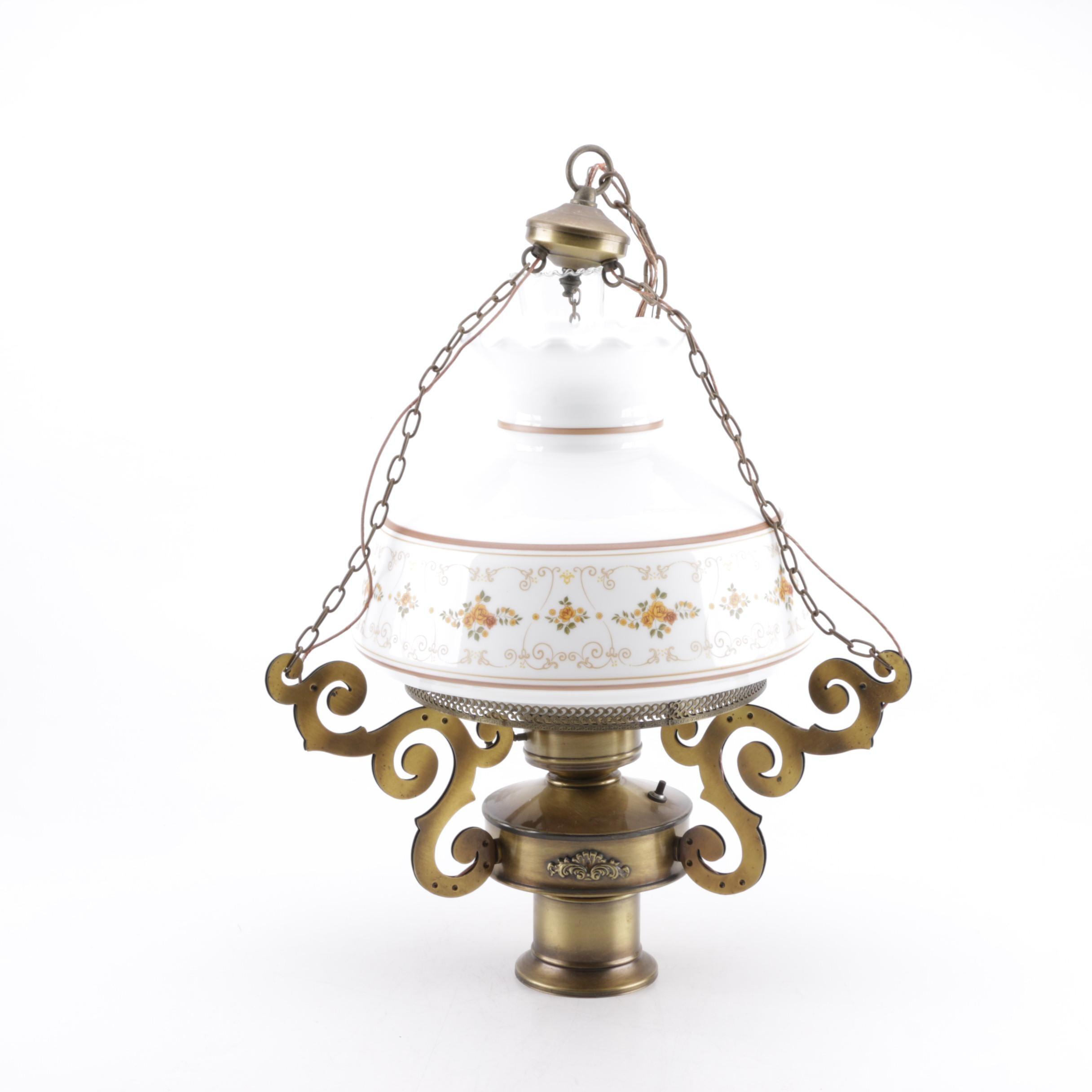 Electrified Kerosene Brass and Glass Pendant Light Fixture