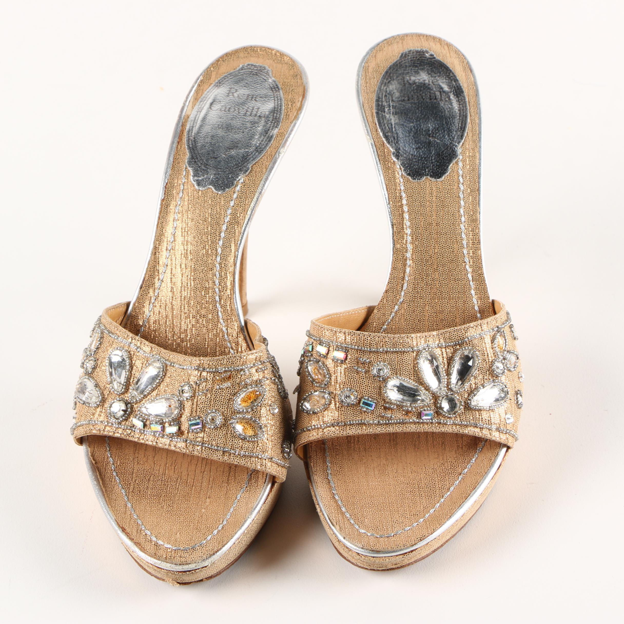 Rene Caovilla Rhinestone and Beaded Slide Heels