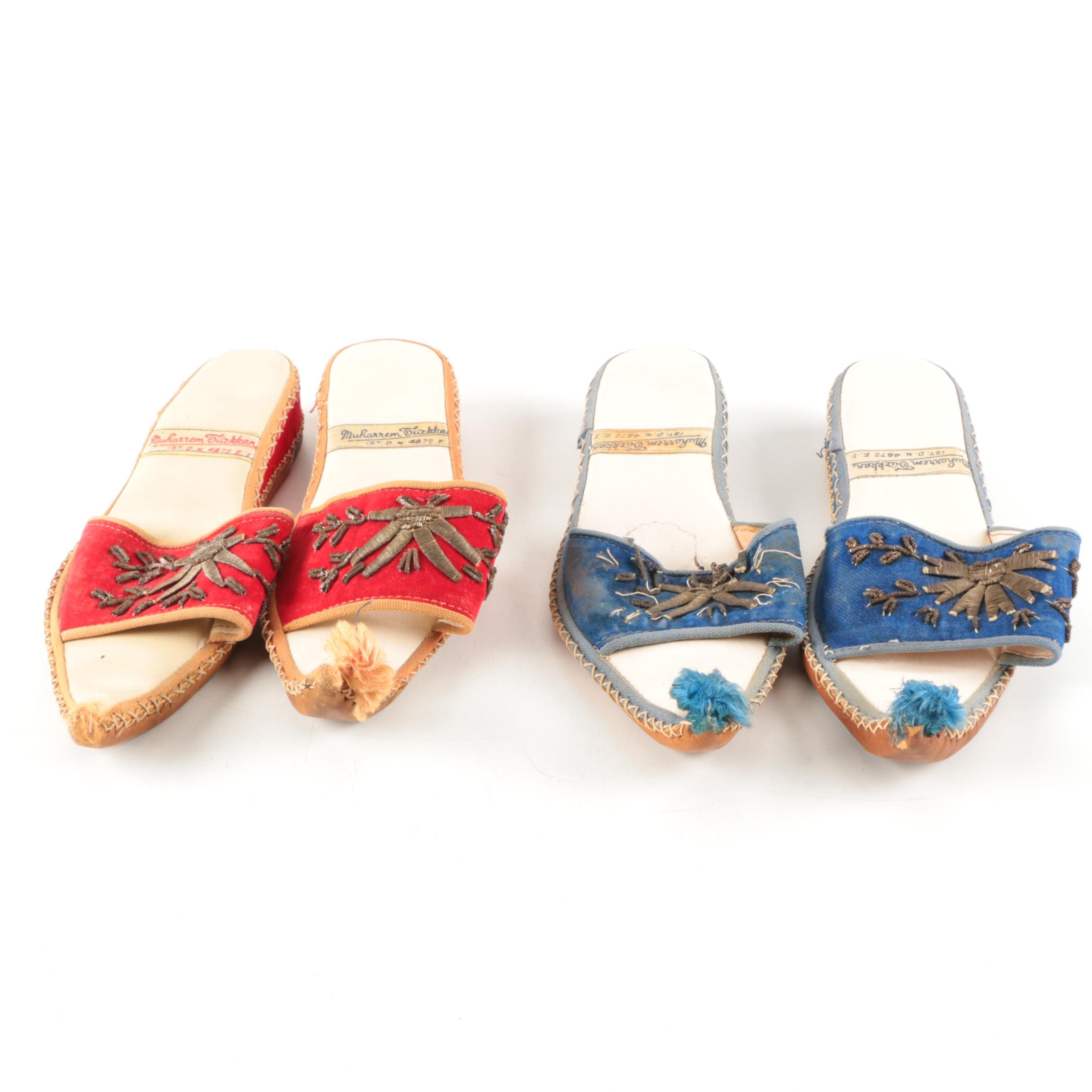 Turkish Embellished Cloth and Leather Slip-On Sandals