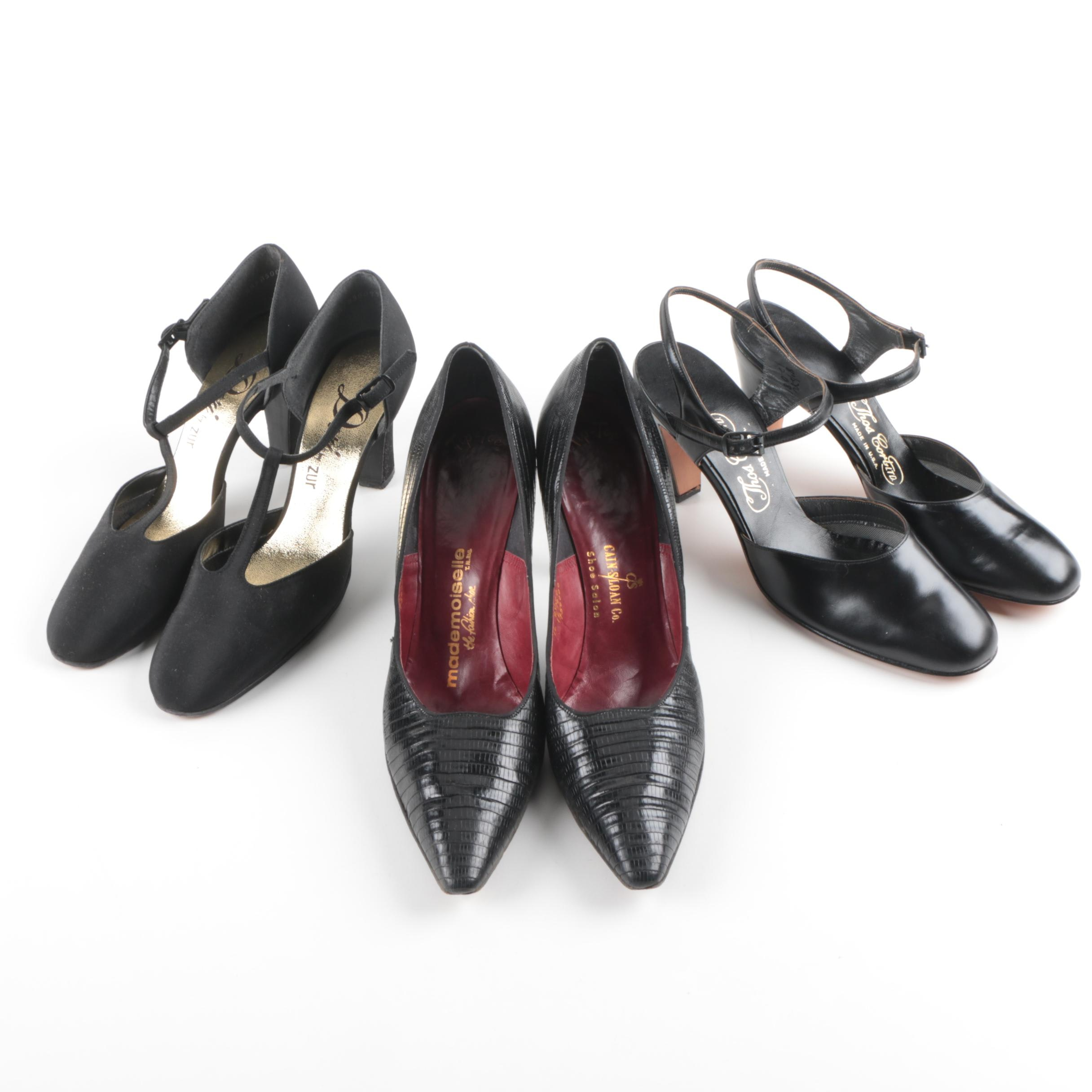 Women's Vintage Leather and Reptile Skin Shoes