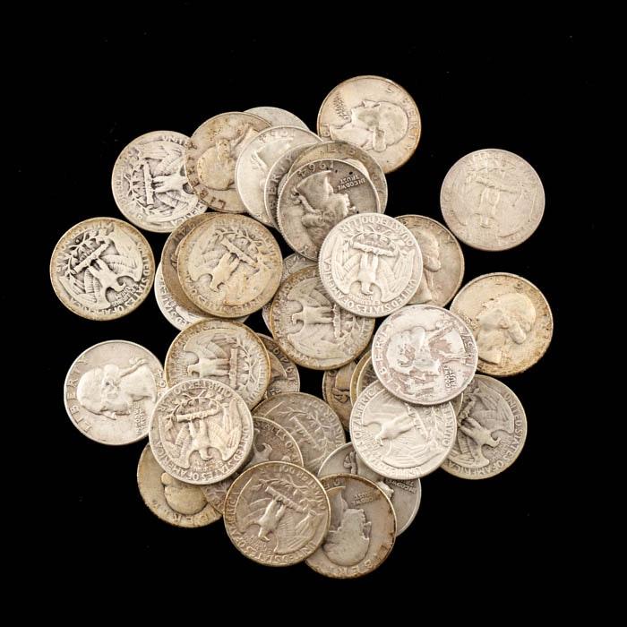 Thirty-Four Washington Silver Quarters