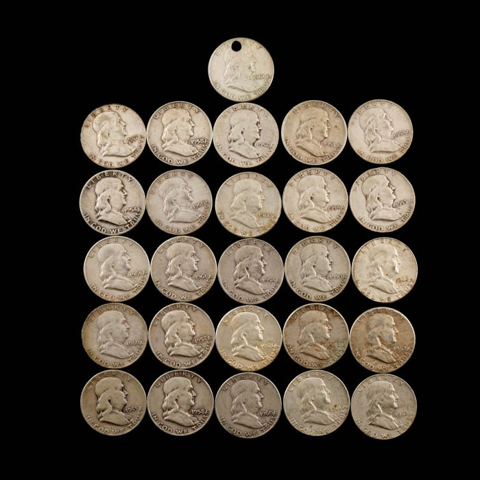 Twenty-Six Franklin Silver Half Dollars