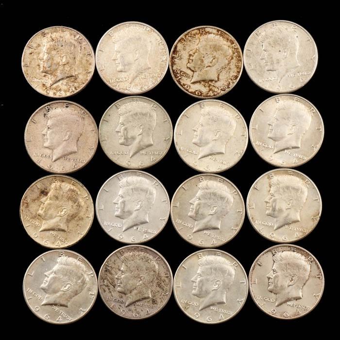 Sixteen Kennedy Silver Half Dollars