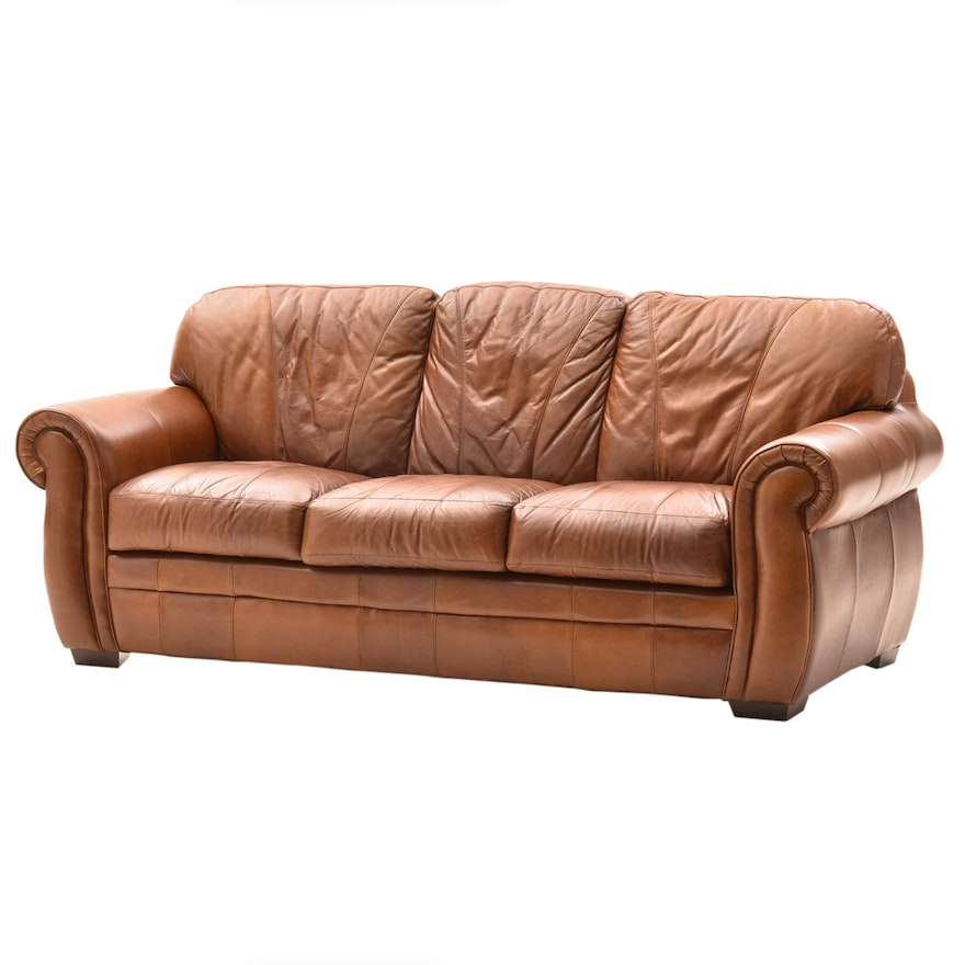 Brown Leather Sofa By Trend Ebth