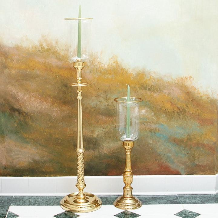 Brass Floor Candle Holders