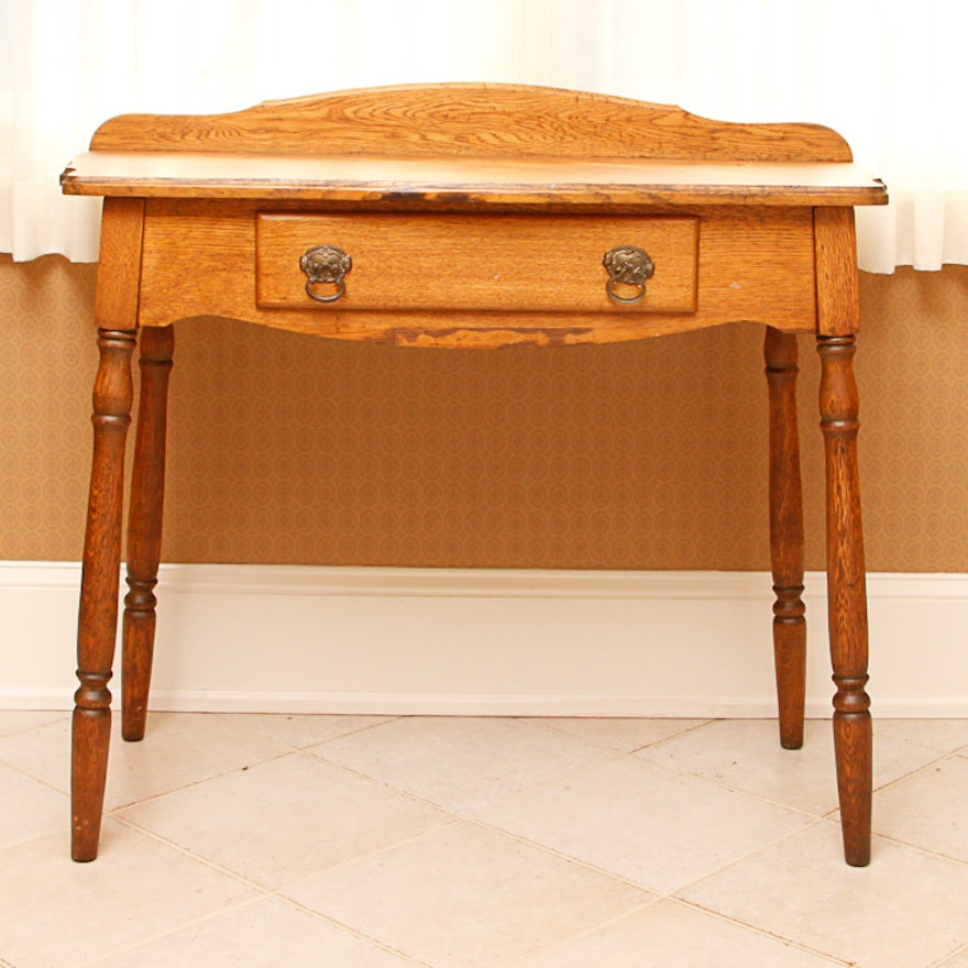 Antique Oak Writing Desk or Dressing Table ... - Antique Oak Writing Desk Or Dressing Table : EBTH