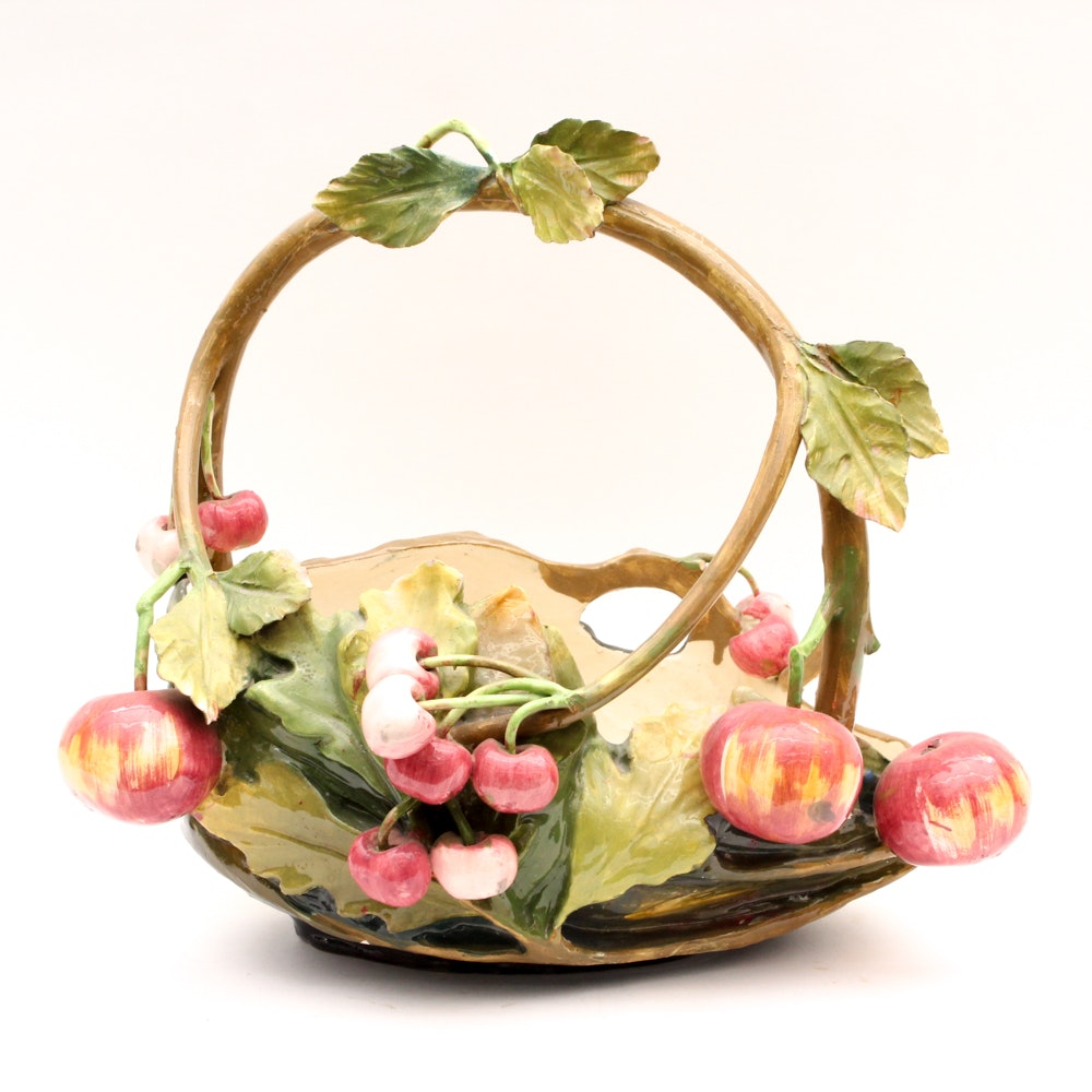 Antique Mollica Majolica Basket