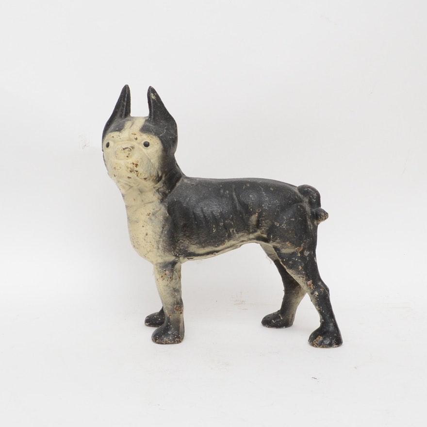 Antique Cast Iron French Bull Dog Door Stop Ebth