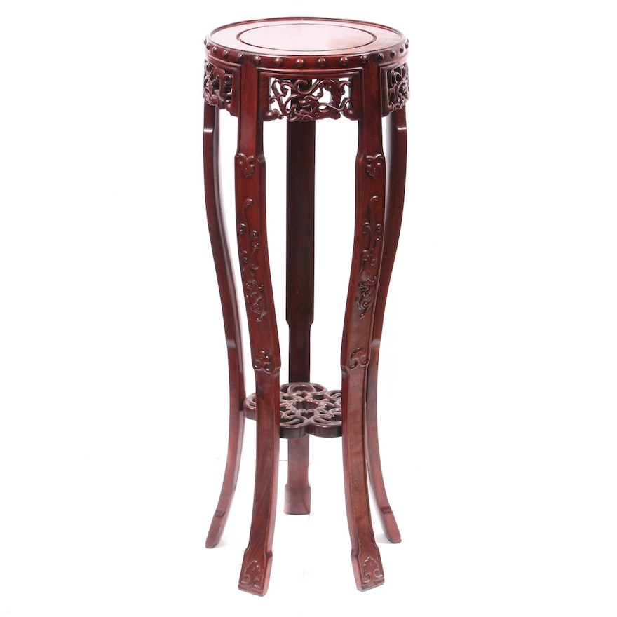 Chinese Carved Solid Wood Vase Stand Ebth