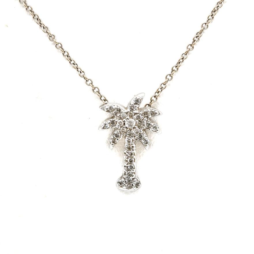 14k white gold diamond palm tree pendant necklace ebth 14k white gold diamond palm tree pendant necklace aloadofball Images