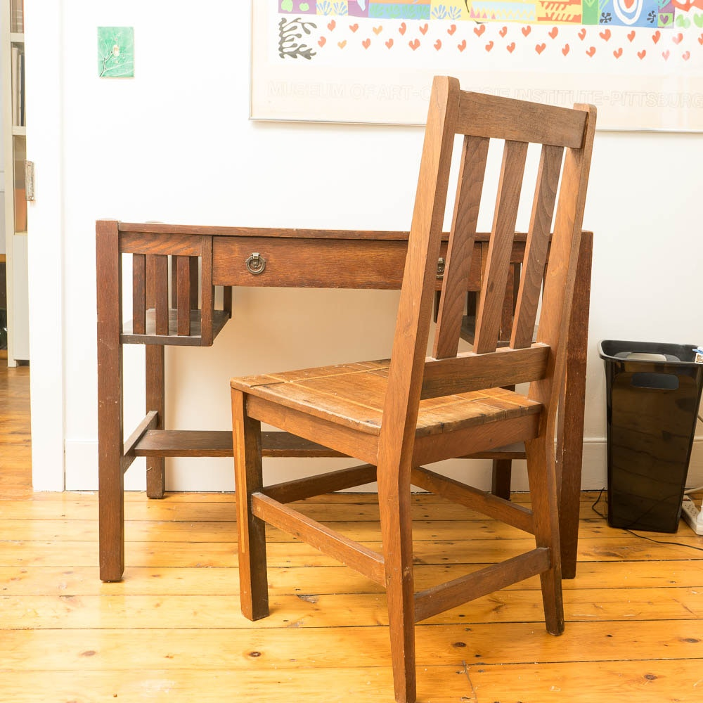 Antique Mission Oak Writing Desk and Side Chair