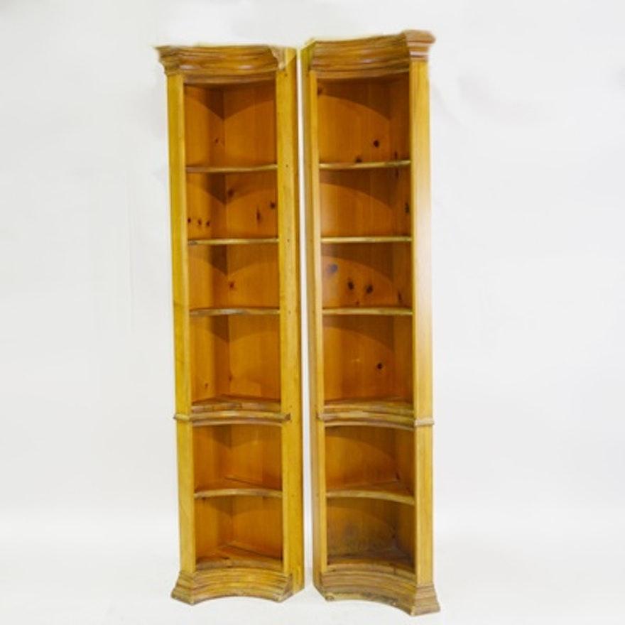 Pine Curved Corner Shelves