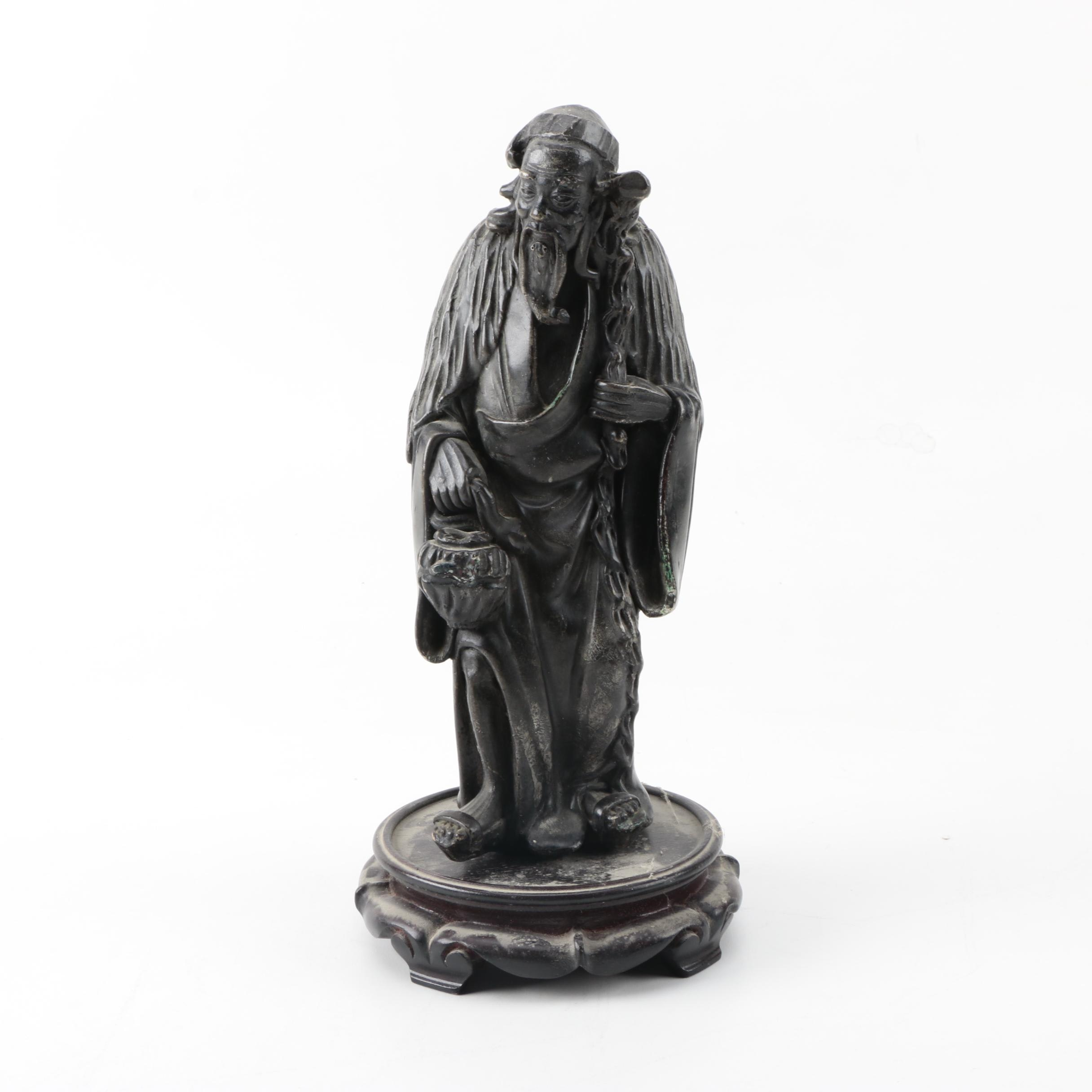 Chinese Figurine of Elderly Man and Wooden Stand