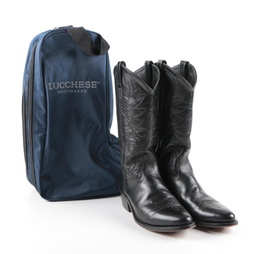 Men S Black Leather Cowboy Boots With Lucchese Boot Bag