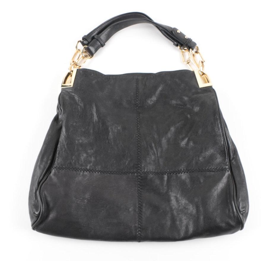 Badgley Mischka Black Leather Hobo Handbag