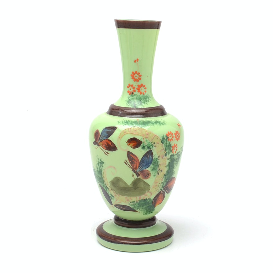 Vintage Bristol Style Hand Painted Glass Vase Ebth