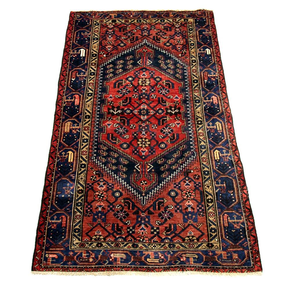 Vintage Hand-Knotted Persian Kurdish Bijar Wool Area Rug