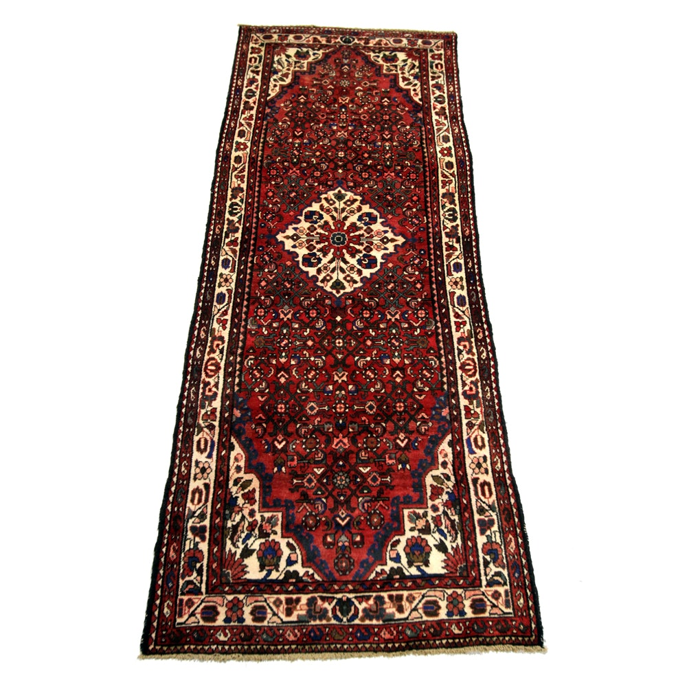 Vintage Hand-Knotted Persian Malayer Wool Carpet Runner