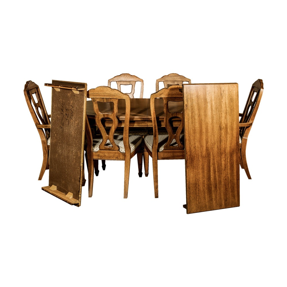 Genial Walnut Finished Dining Table And Chairs By Stanley Furniture ...
