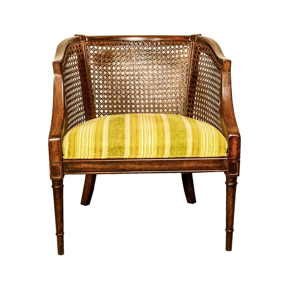 Antique Georgian Barrel Back Chair In Custom Upholstery Ebth