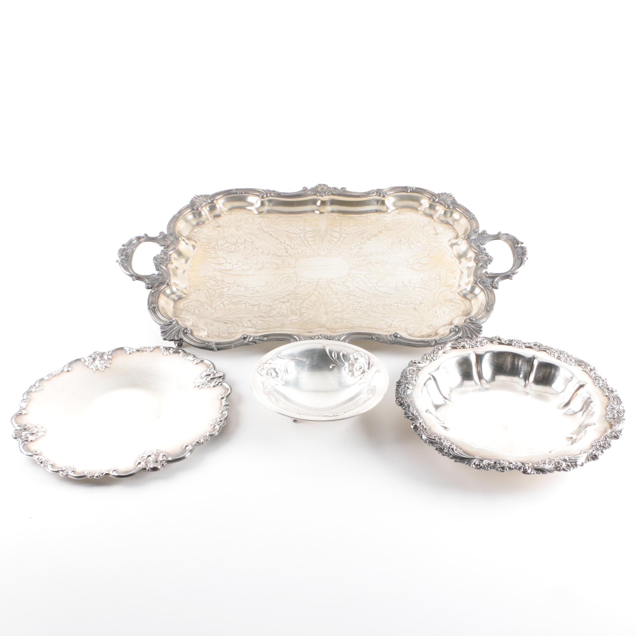 Birmingham Silver Co. Scroll-and-Shell Rimmed Tray with Silver Plate Serveware