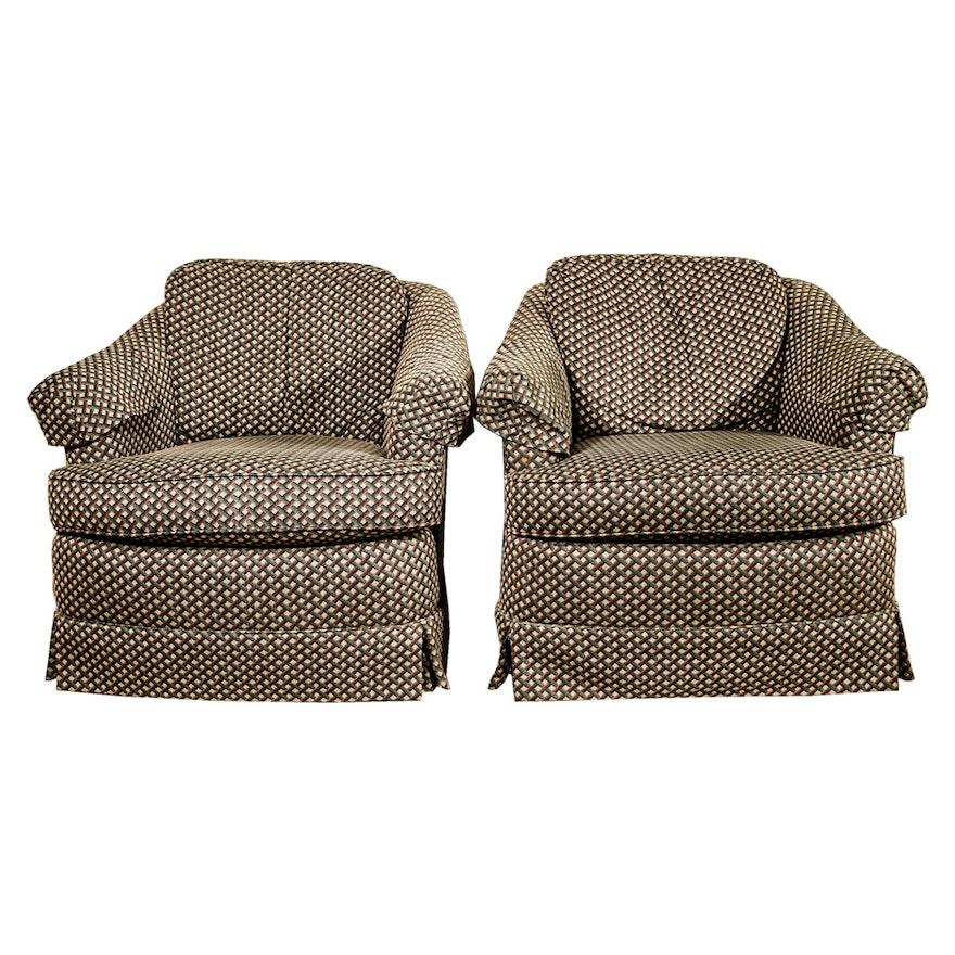 lt designs swivel club chairs by century furniture ebth