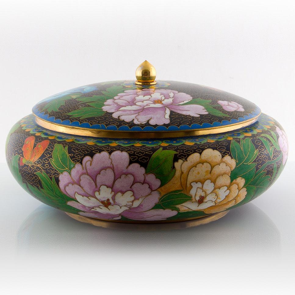 Cloisonné Round Lidded Jar