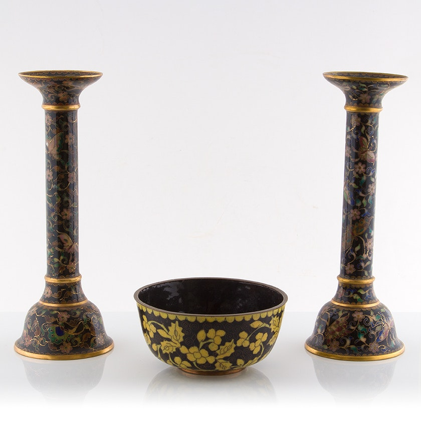 Cloisonné Candle Holders and Bowl