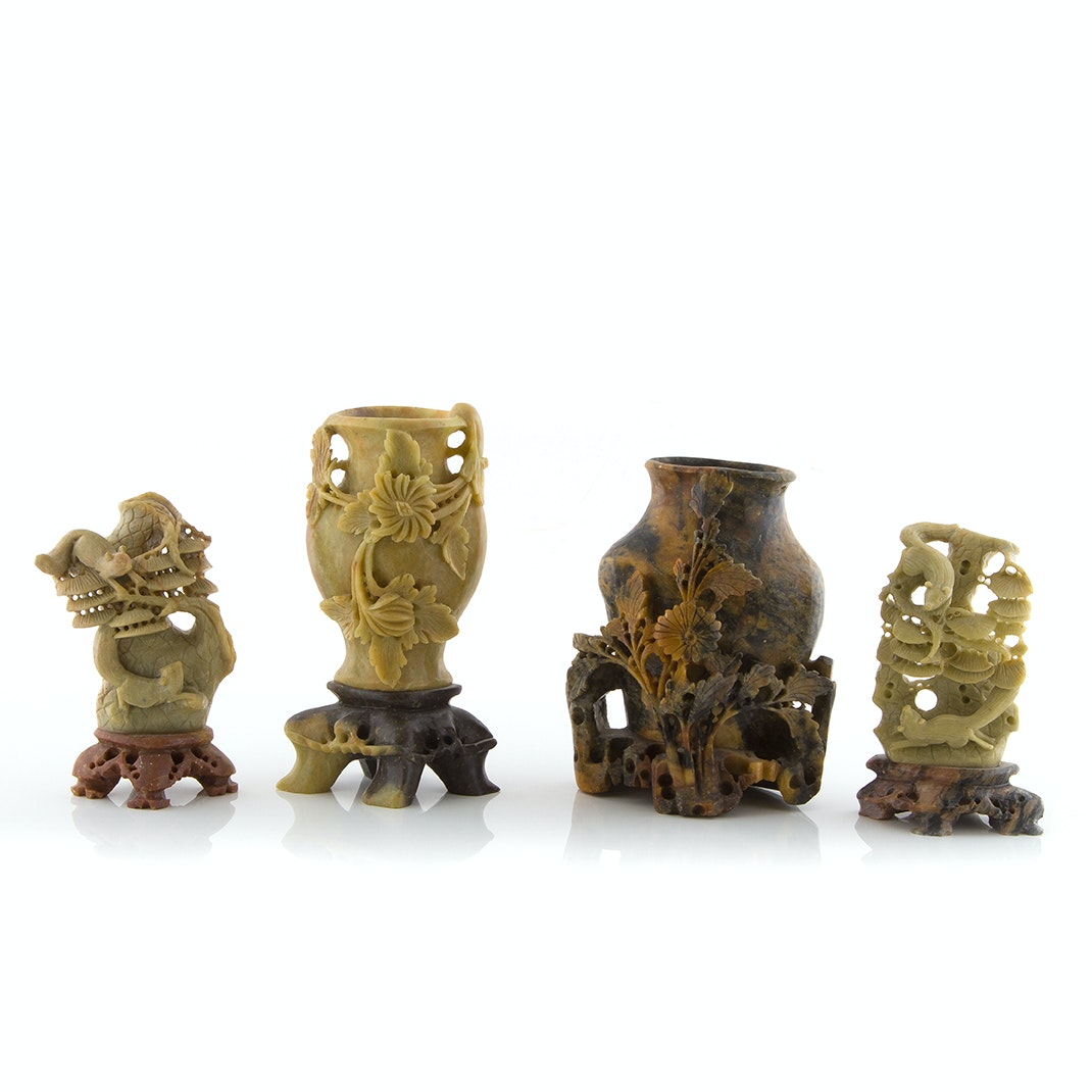 Chinese Carved Soapstone Sculptures and Vases
