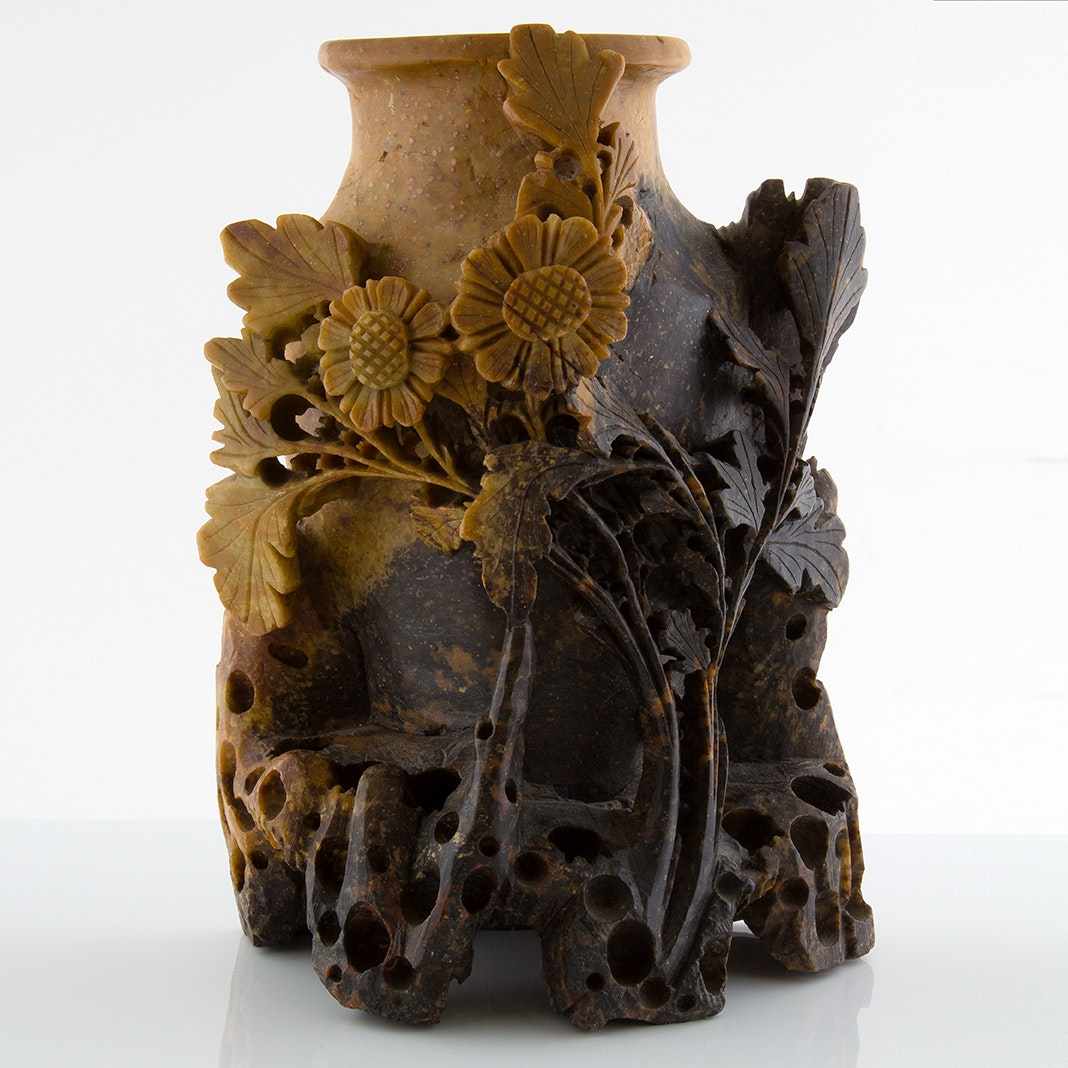 Carved Soapstone Sculpture Vase