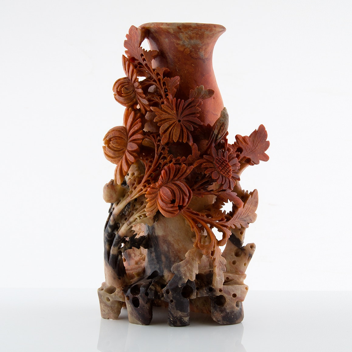Carved Soapstone Sculpture Vase