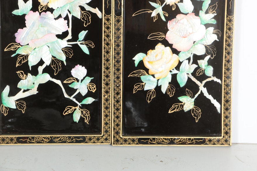 chinese lacquered wall panels of the four seasons  ebth