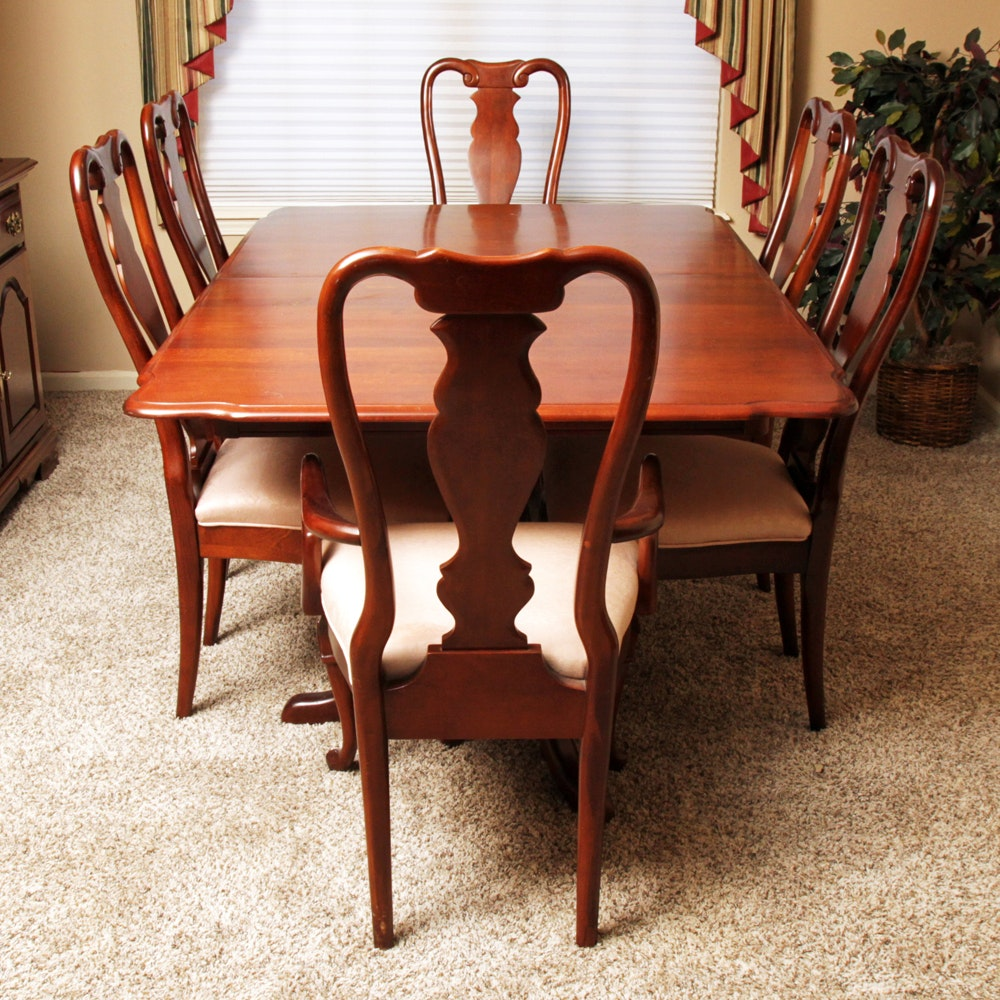 Federal Style Cherry Dining Room Table And Six Queen Anne Style Chairs ...