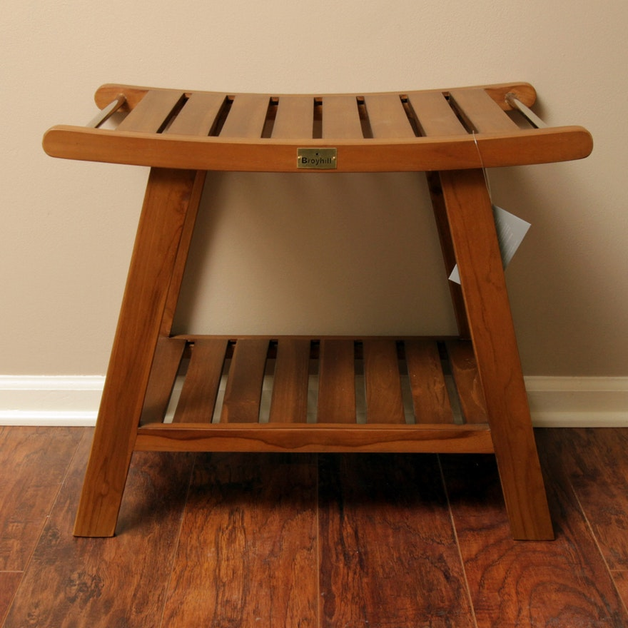Teak Bench / Shower Stool by Broyhill : EBTH