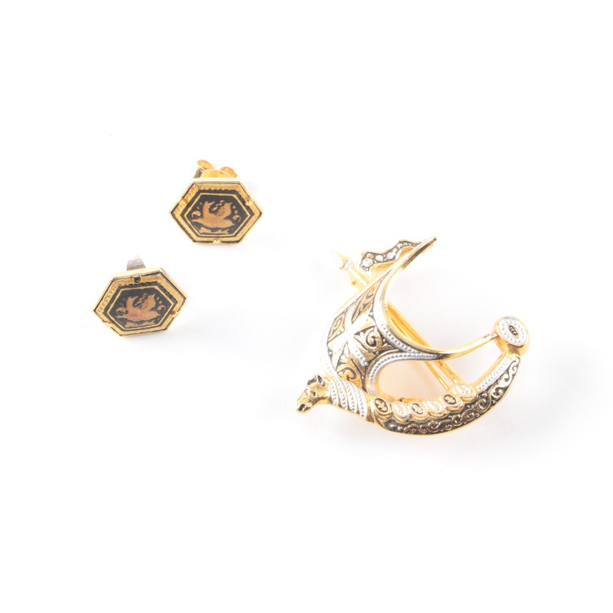 Spanish Brooch And Damascene Style Earrings