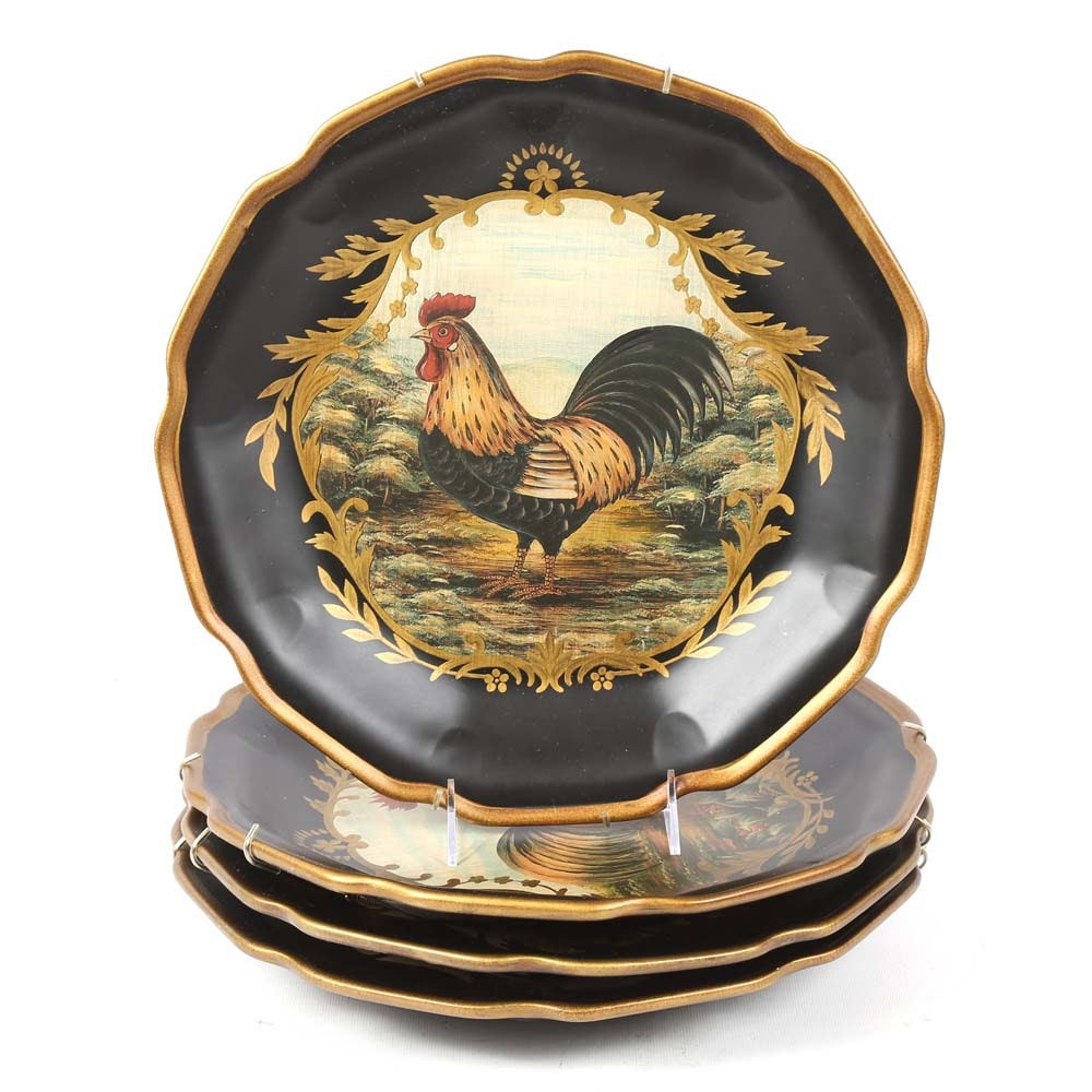 Decorative Painted Rooster Plates
