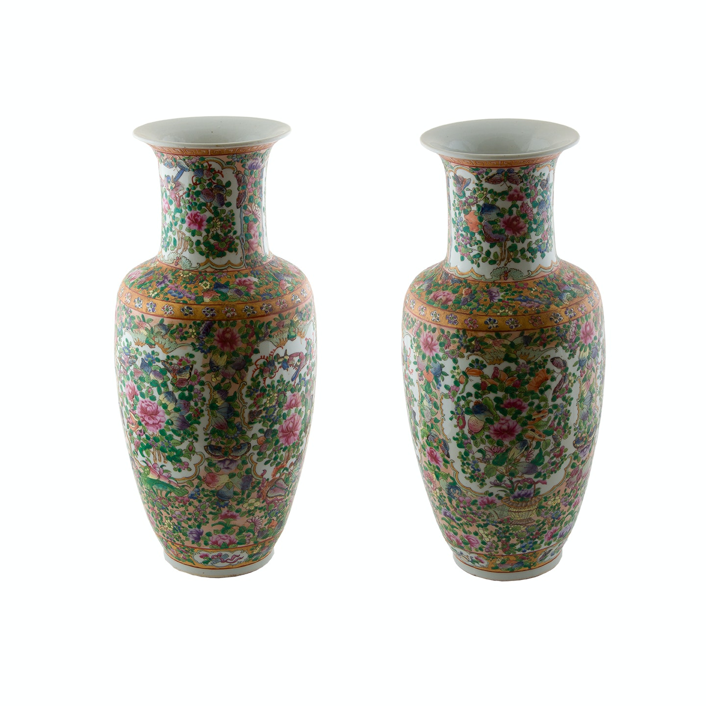 Pair of Hand-Painted Rose Canton Ceramic Vases