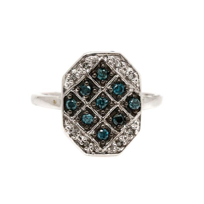 Clyde Duneier 10K White Gold Blue Diamond and Diamond Ring