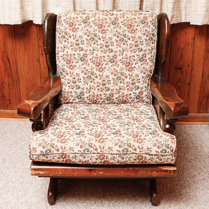 Surprising Vintage Pine Platform Rocking Chair With Cushions Gamerscity Chair Design For Home Gamerscityorg